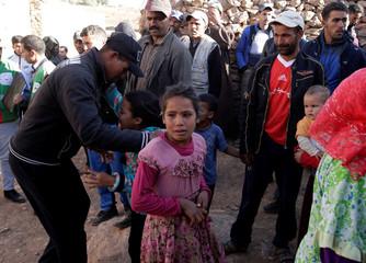 Relatives mourn the death of Lakbira Essabiry in Sidi Boulaalam