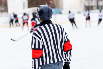 Referee on rink on ice hockey game.