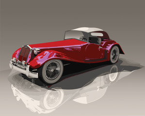 Detailed vector illustration of a red convertible vintage car, on a reflective surface.