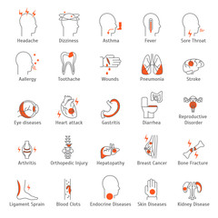 Human Diseases Signs Thin Line Icon Set. Vector