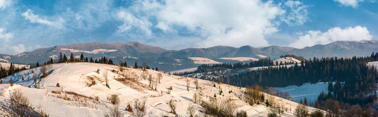 panorama of rural area in winter Carpathians