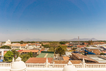 Leon, Nicaragua. View from the roof of Cathedral, the biggest cathedral in Central America and important touristic place in city.