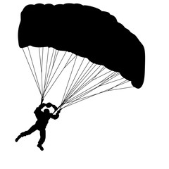 Skydiver, silhouettes parachuting on a white background