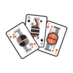 jack queen and king poker cards hand