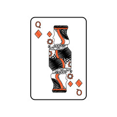 queen of diamonds or tiles french playing cards related icon ico