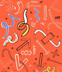Playful Dancing Random Shapes and Arrows on Orange Background