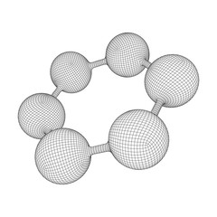 Wireframe Mesh Hexagon Molecule. Connection Structure. Low poly vector illustration. Science and medical healthcare concept