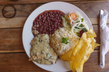 Costa rica plate, Meat With Rice and Beans.