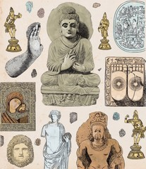 Old Religious Historical Statues and Artefacts Spiritual Objects in Museum