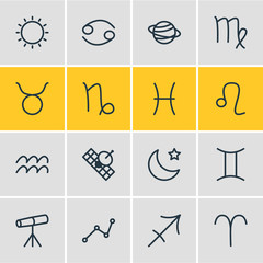 Vector Illustration Of 16 Astrology Outline Icons. Editable Set Of Bull, Satellite, Geometric And Other Elements.