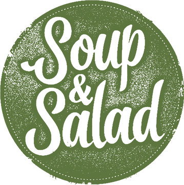 Vintage Soup & Salad Restaurant Menu Stamp