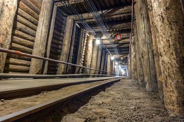 Illuminated underground tunnel