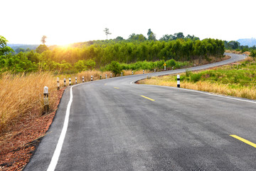 Road with curves in the mountain of Thailand