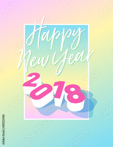 appy new year 2018 postcard with frame and pastel colours vector eps 10 template
