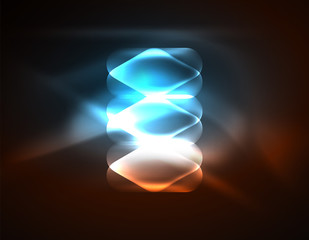 Illuminated lens flares, glowing color techno background
