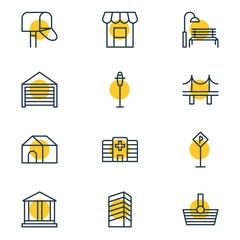 Vector Illustration Of 12 Infrastructure Outline Icons. Editable Set Of Lamppost, Parking, Clinic And Other Elements.