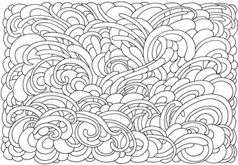 Background with abstract waves. Black and white doodle vector illustration. Coloring book for adult and older children. Coloring page. Outline drawing.