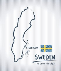 Sweden sketch chalk drawing map isolated on a white background
