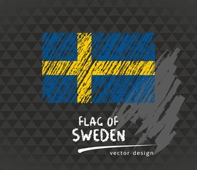 Flag of Sweden, vector chalk illustration on black background