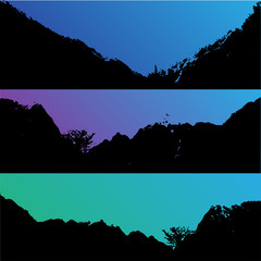 Set of vector hills and mountain landscape silhouette. Realistic trees, woods on hill silhouettes on night and evening sky. Outdoor nature scene