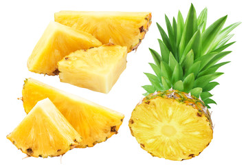 Pineapple slices isolated on white background. Collection