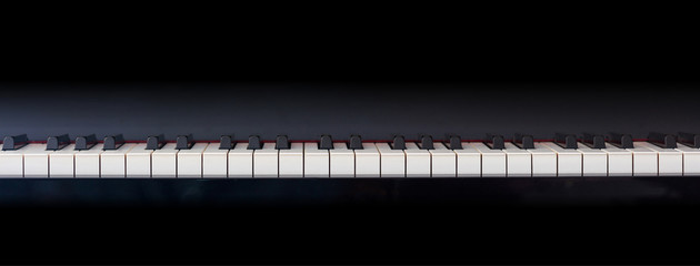 Piano keyboard, front view, copy space
