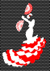 Flamenco dancer, silhouette beautiful Spanish woman in long dress with fan, vector isolated or polka dot background