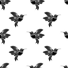 Abstract seamless hummingbird pattern for girls or boys. Creative vector background with hummingbird, birds. Funny wallpaper for textile and fabric. Fashion birds style. Monochrome birds, gull picture