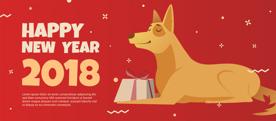 banner design template with a golden dog symbol of the new year 2018.