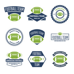 Collection of white, green and blue Vector Football logos and insignias