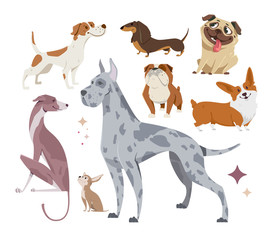 Vector illustration, set of funny purebred dogs