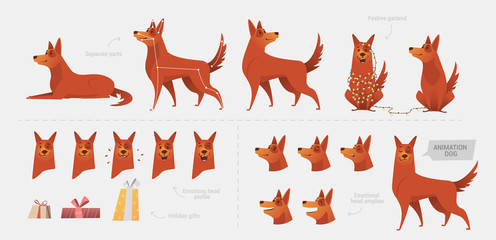 Set for creating a dog animation of emotions.