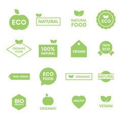 Set of green labels and badges with leaves for organic, natural, bio and eco products on white background