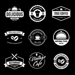 Set of Restaurant Shop Design Elements in Vintage Style for Logotype, Label, Badge and other design.
