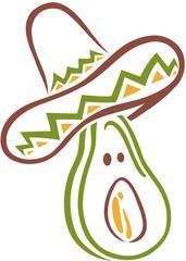 Avocado mit Sombrero, Mexiko, Sommer, Urlaub.