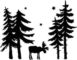 Elch im Wald. Silhouette mit Tannen und Sternen.