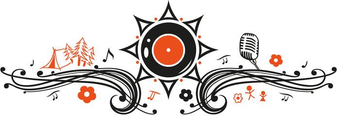 Sommer Motiv. Sommer Festival Tattoo, Sonne, Zelten und Musik.