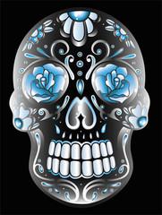 Totenkopf, Kristallschädel, sugar skull. Kristallglas Effekt.