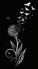 Löwenzahn. Filigrane Pusteblume mit Vogelschwarm.