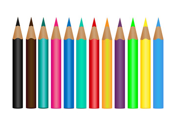 Set colored pencils isolated on a white background. Vector illustration