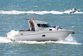 Motor boat in the open sea.