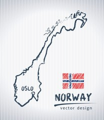 Norway national vector drawing map on white background