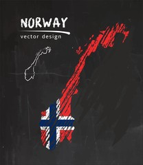 Norway map with flag inside on the blackboard. Chalk sketch vector illustration