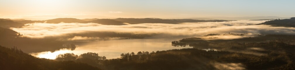 Sunrise Panorama Windermere from Loughrigg Fell, Lake district