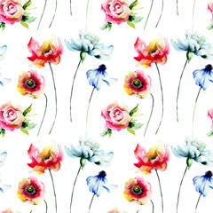 Seamless pattern with wild flowers