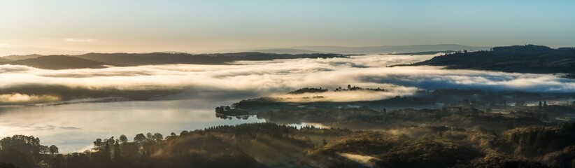Lake Windermere sunrise panorama, Mist on Loughrigg Fell
