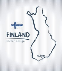 Finland national vector drawing map on white background