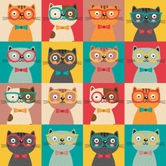 Wall Murals Owls cartoon seamless pattern with colorful cats in squares - vector illustration, eps
