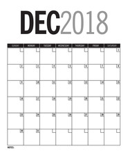 December 2018 - Blank calendar page with dates