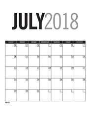 July 2018 - Blank calendar page with dates
